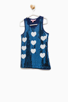Top puro cotone con paillettes, Blu, hi-res