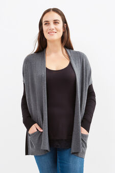 Curvy viscose blend long cardigan, Black, hi-res