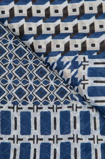 Geometric print cotton scarf, Blue, hi-res