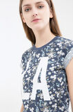 Patterned T-shirt in 100% cotton, Blue, hi-res