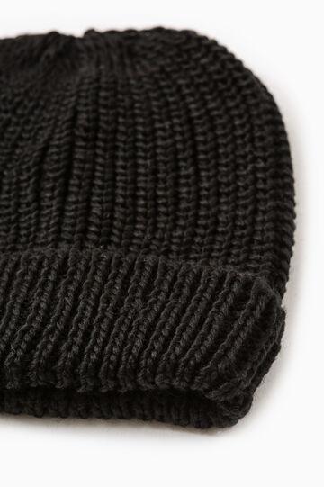 Cappello a cuffia tricot tinta unita, Nero, hi-res