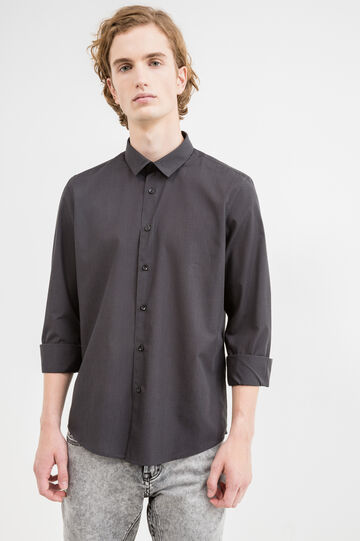 Slim-fit casual shirt in cotton, Black/Grey, hi-res