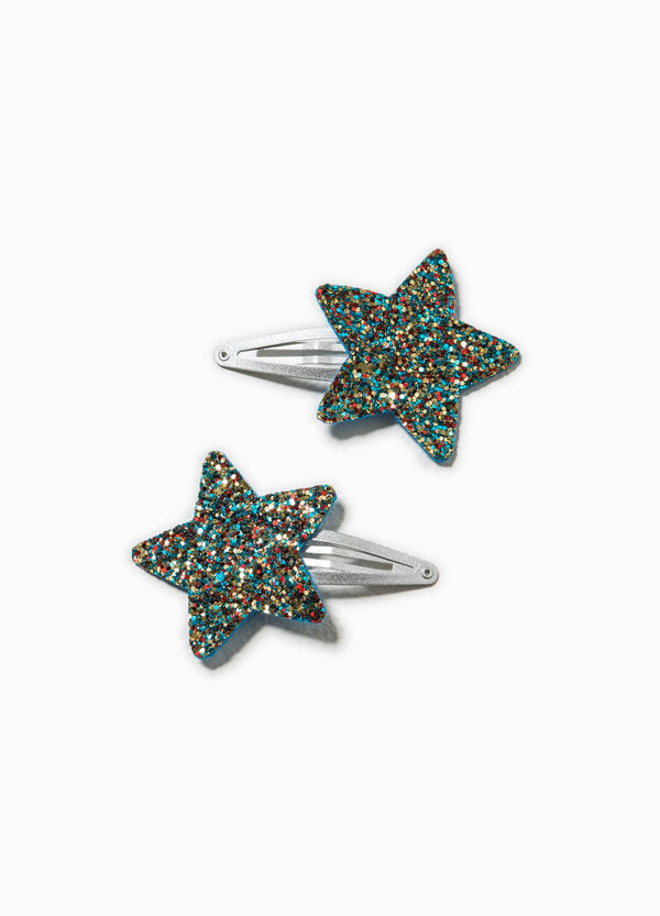 Set of two hair clips with glitter | OVS