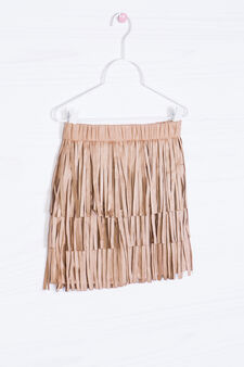 Solid colour skirt with fringe, Leather Brown, hi-res