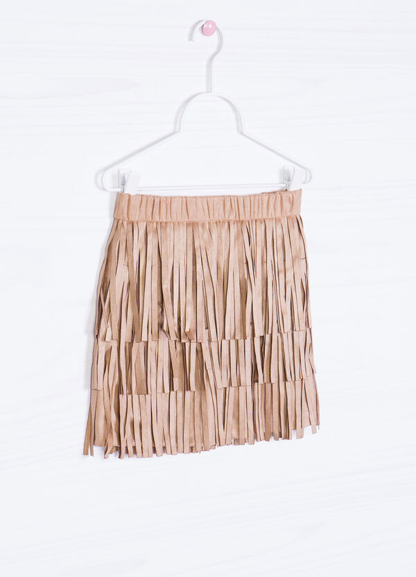 Solid colour skirt with fringe | OVS