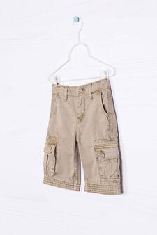 Solid colour 100% cotton Bermuda cargo shorts, Beige, hi-res