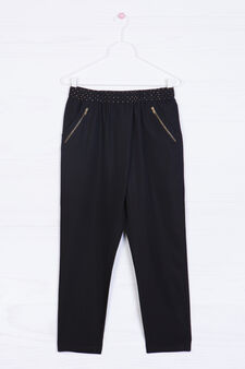Modal blend trousers with studs, Black, hi-res