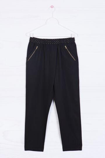 Pantaloni misto modal borchiette, Nero, hi-res