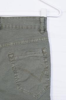 Pantaloni cinque tasche stretch, Verde militare, hi-res