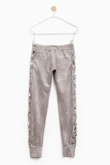 Stretch trousers with diamantés, Dark Grey, hi-res
