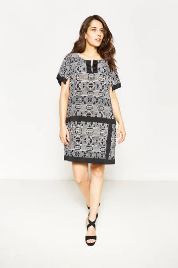 Curvy stretch dress with ethnic pattern, White/Black, hi-res