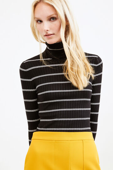 Ribbed and striped pattern pullover, Black/White, hi-res