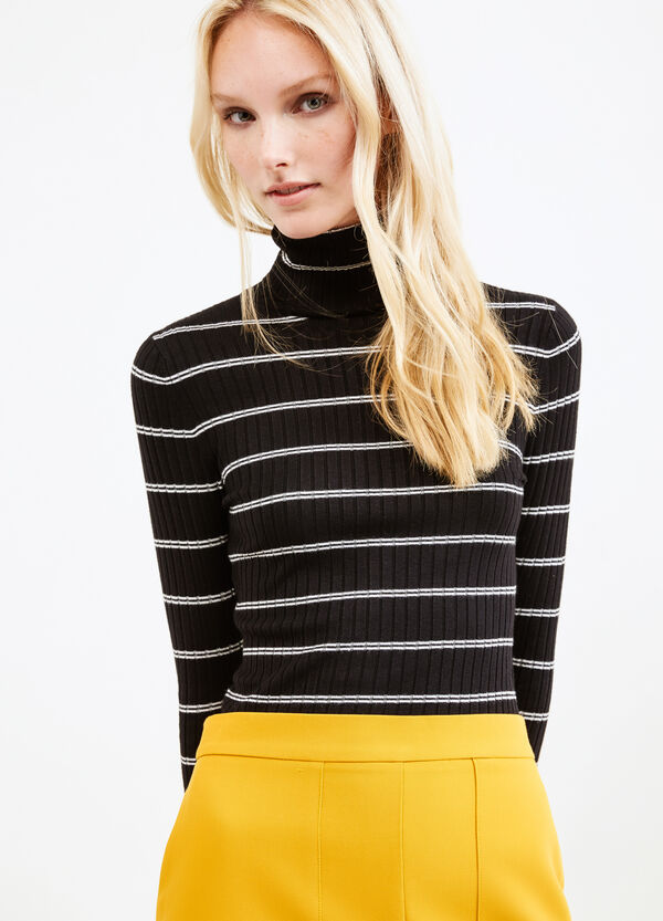 Ribbed and striped pattern pullover | OVS