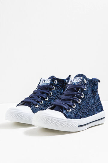 High lace lace-up sneakers, Blue, hi-res