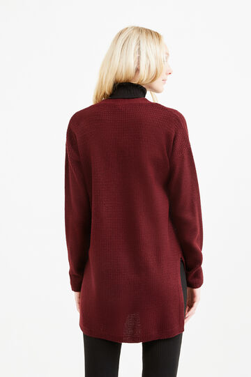 Long knitted cardigan with slits, Aubergine, hi-res
