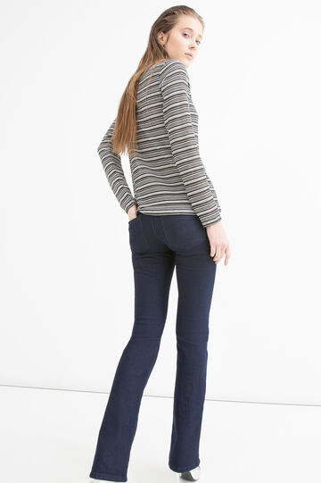 Stretch T-shirt with striped pattern, Black/White, hi-res