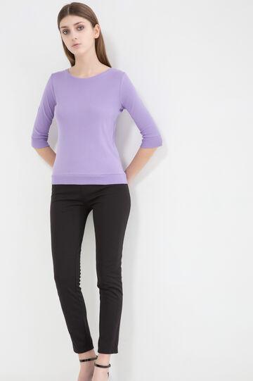 Solid colour T-shirt in 100% cotton, Lavender, hi-res