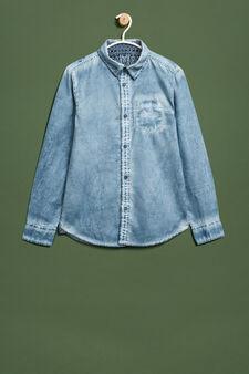 Mis-dyed-effect cotton shirt, Soft Blue, hi-res