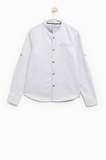 Camicia in puro cotone con taschino, Bianco sporco, hi-res
