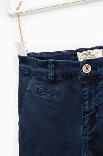 Solid colour stretch chino trousers, Blue, hi-res