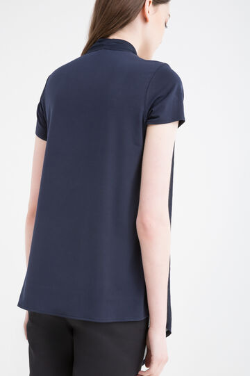 V-neck solid colour stretch T-shirt, Blue, hi-res