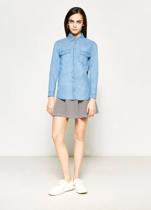 Teen denim shirt with asymmetric hem | OVS
