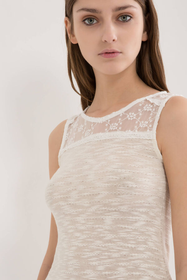 Viscose blend top with lace yoke | OVS