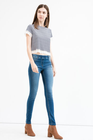 Jeggings stretch vita elasticata, Blu, hi-res