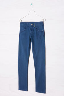 Plain stretch jeans, Blue, hi-res