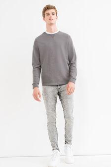 100% cotton sweatshirt with round collar and ribbing, Dark Grey, hi-res