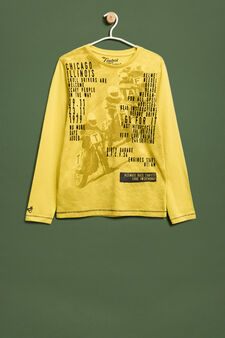 Maxi print T-shirt in 100% cotton, Yellow, hi-res