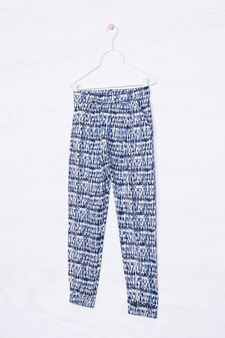 Cotton blend patterned trousers, White print 1, hi-res