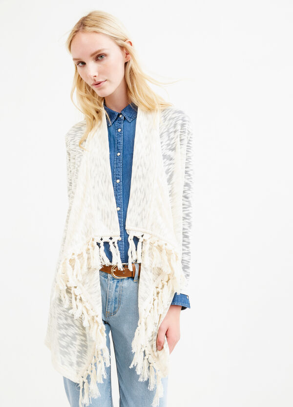 Viscose and cotton cardigan with tassels | OVS