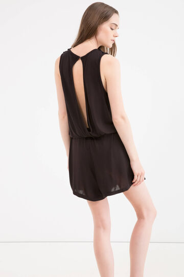 100% viscose playsuit with lace insert, Black, hi-res