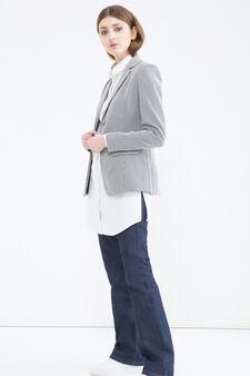 Striped cotton blend stretch jacket, White/Blue, hi-res
