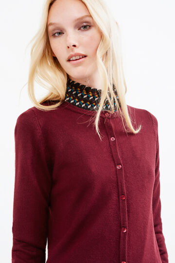 Solid colour thin ribbed cardigan, Aubergine, hi-res
