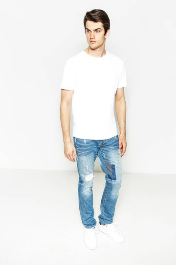 Straight-fit worn-effect jeans with rips, Denim, hi-res