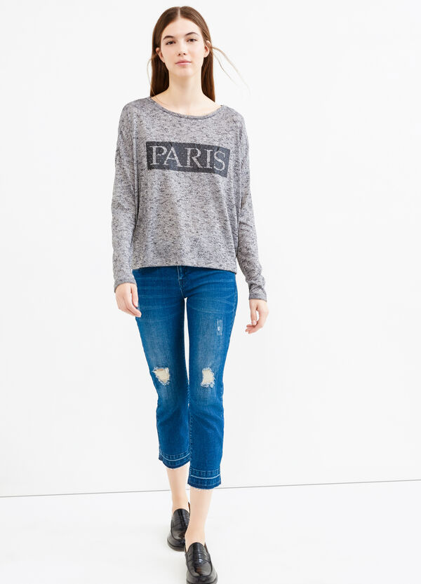 Viscose blend sweatshirt with printed lettering | OVS