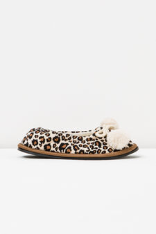 Ballerina slippers with animal pattern, Natural, hi-res