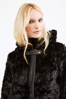 Faux fur jacket with leather look insert, Black, hi-res