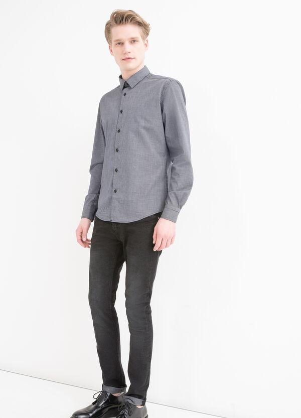 Cotton blend micro check shirt | OVS