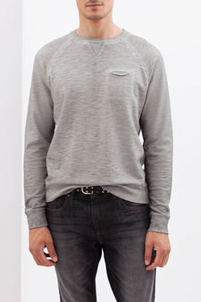 100% cotton sweatshirt with raglan sleeves, Grey Marl, hi-res