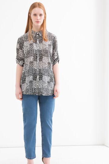 Jeans stretch con zip Curvy, Lavaggio medio, hi-res