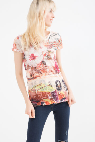 Viscose T-shirt with pattern and diamanté detail, Tobacco Brown, hi-res