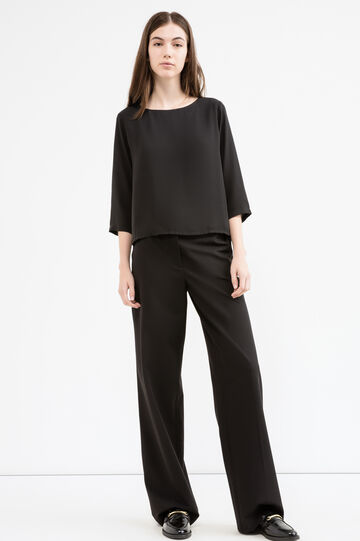 Solid colour blouse with three-quarter sleeves, Black, hi-res