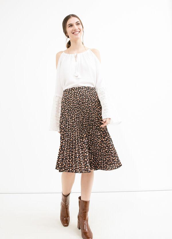 Full flared pleated skirt with high waist | OVS