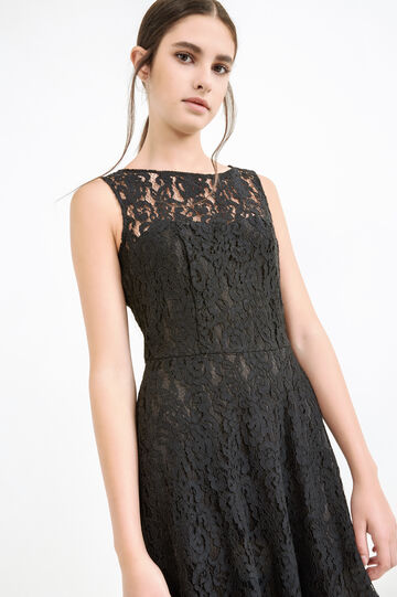 Sleeveless lace dress, Black, hi-res