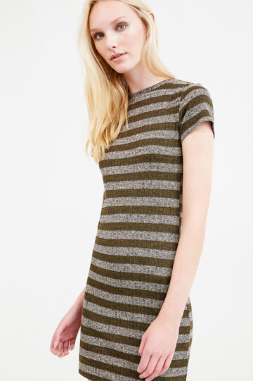 Striped dress in stretch viscose, Grey/Green, hi-res