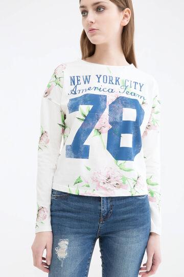 Floral cotton T-shirt, White/Pink, hi-res