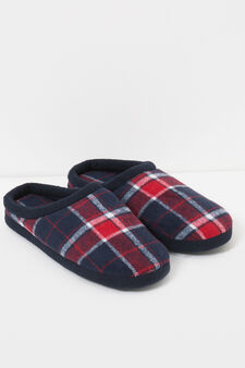 Tartan pattern slippers, Red, hi-res